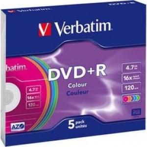 Диск DVD+R 1 шт Slim VERBATIM, 4.7 GB/120 min 16x (43556)