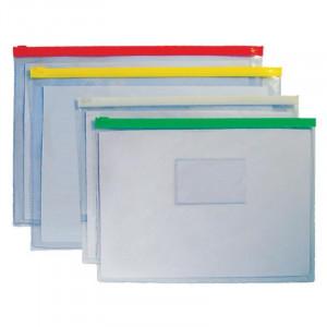Папка на молнии пластик 330 х 243 мм SOHO с карманом для визиток (S-56)