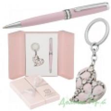 Набор подарочный Heart (ручка шариковая + брелок) розовый (LS.122003-10)
