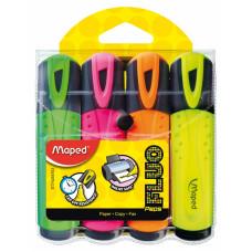 Набор маркеров текстовых 4 цв Maped Fluo Peps Classic 1-5 мм (желт/зел/розов/оранж) (MP.742547)