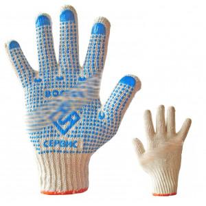 Перчатки вязаные (ПВХ-точка) 3 нитки 10 Восток-835 (КНР)