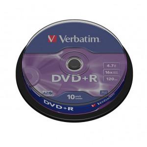Диск DVD+R 10 шт Cake box VERBATIM, 4.7 GB/120 min 16x (43498)