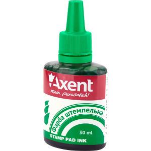 Штемпельная краска Axent, 30 мл, на водной основе, зеленая (7301-04-A)