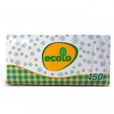 Салфетки 1слой 24 х 24 см РУТА ECOLO белые (450 шт)