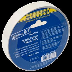 Скотч 2сторон 18 мм х 10 м BuroMax (ткан основа) (BM.7504)