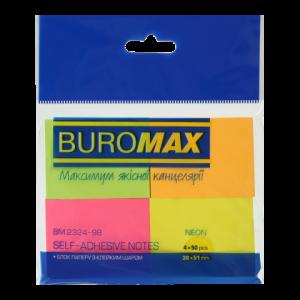 Блок стикеров 38 х 51 мм 200 шт BuroMax неоновый цвет, 4 цвета ассорти (BM.2324-98)