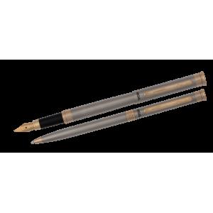 Набор ручек REGAL (перо+шариковая) в подарочном футляре, нерж. сталь с элементами золота (R68007.L.BF)