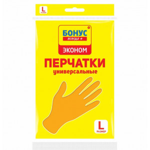 Перчатки латексные L-9 БОНУС ЭКОНОМ (желтые) (17100900)