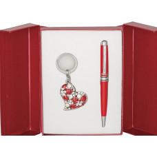 Набор подарочный Heart (ручка шариковая + брелок) красный (LS.122003-05)