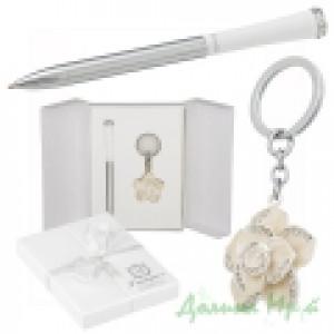 Набор подарочный Heart (ручка шариковая + брелок) белый (LS.122003-12)