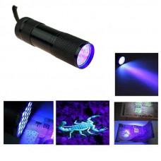 Фонарик ультрафиолетовый, 9 светодиодов, металлический корпус (черный)