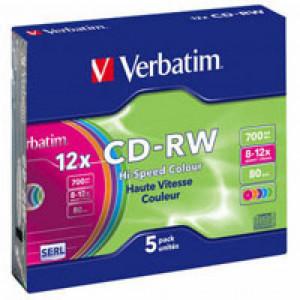 Диск CD-RW 5 шт Slim Color VERBATIM, 700Mb/80min/8x-12x (43167)