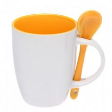 Чашка керамическая с ложкой 88210286 (300 мл) белая с желтым
