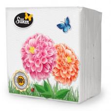 Салфетки 1слой 24 х 24 см SILKEN белые (100 шт) (NN2411001)