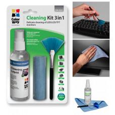 Набор для чистки экранов ColorWay 3 в1 (Спрей 100 мл + Салфетка + Щетка) (CW-1031)