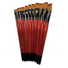Кисть художественная №12 синтетика 1 шт/уп плоская KOLOS Carrot 1097F