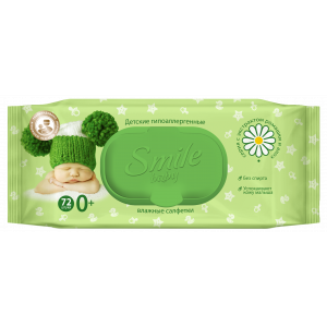 Салфетки влажные SMILE BABY с экстрактами ромашки и алое (72 шт)