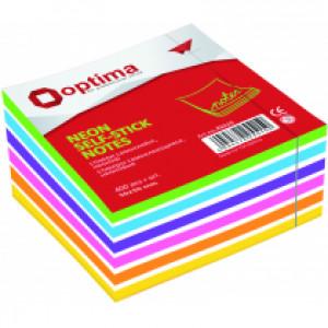 Блок стикеров 50 х 50 мм 250 шт Optima неоновый цвет ассорти радуга (O25517)