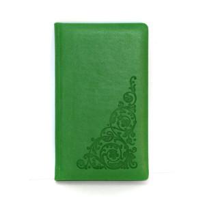 Алфавитная книга 90х150 мм 64 л ПОЛИГРАФИСТ обложка искусств кожа салатовая (212 06)