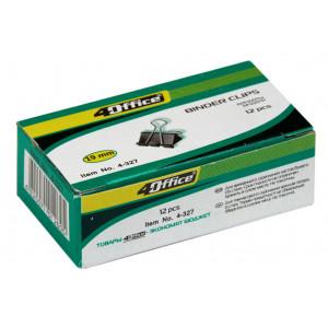 Зажим 19 мм черный 4OFFICE 4-327 12 шт/уп