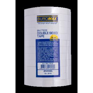 Скотч 2сторон 12 мм х 10 м BuroMax (ткан основа) (BM.7502)