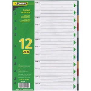 Разделитель страниц пластик (цветной) А4 12 разд 4Office 4-254