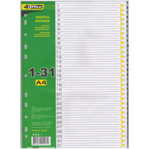 Разделитель страниц пластик (серый) (цифр 1-31) А4 4Office 4-255