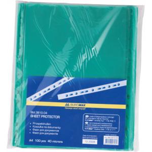 Файл глянцевый A4 40 мкм Buromax вертик европерф зеленый (100 шт) (BM.3810-04)
