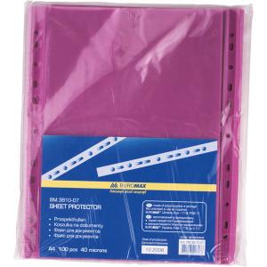 Файл глянцевый A4 40 мкм Buromax вертик европерф фиолетовый (100 шт) (BM.3810-07)