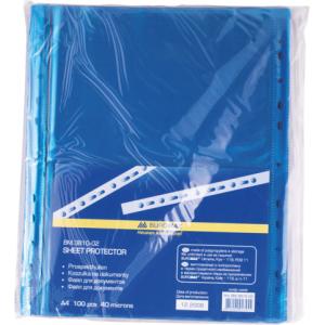 Файл глянцевый A4 40 мкм Buromax вертик европерф синій (100 шт) (BM.3810-02)
