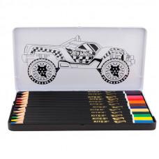 Карандаши цветные 12 цв х 12 шт Kite Hot Wheels в метал пенале трехгранные (HW-19-058)