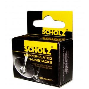 Кнопки канцелярские 50 шт SCHOLZ 4830 медные d-10 мм, высота ножки 8 мм