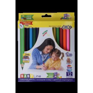 Карандаши цветные 12 цв х 12 шт + точилка ZIBI JUMBO BABY Line трехгранные (ZB.2452)