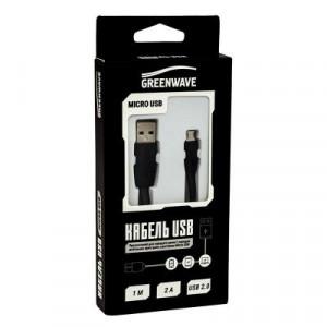 Дата кабель USB 2.0 – MicroUSB DC-MU-102TF black Greenwave (R0014169)