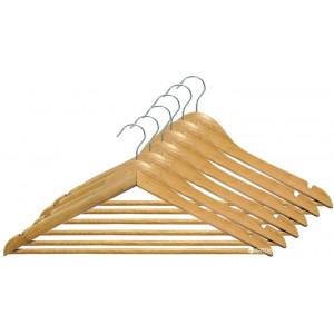 Вешалка-плечики деревянная Мой Дом (44,5 Х 23 Х 1,2 см) светло-коричневая (6 шт) (RE05210/6)
