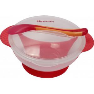 Тарелка на присоске Курносики 7055 с термоложкой Красная (4890210070551)