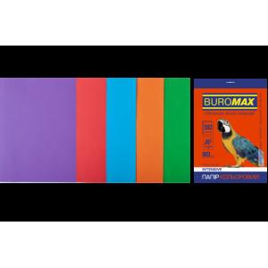 Бумага цветная А4 80 г/м кв BUROMAX Радуга 50 л INTENSIVE 5 цветов (BM.2721350-99)