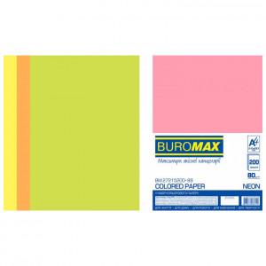 Бумага цветная А4 80 г/м кв BUROMAX Радуга 200 л NEON 4 цвета (BM.27215200-99)
