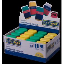 Ластик для карандашей + точилка пластиковая на 2 отверстия с контейнером BUROMAX Rubber Touch (BM.4771)