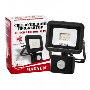 Прожектор светодиодный Magnum FL ECO LED 10Вт slim 6500К IP44 з датчиком движения (90014086)