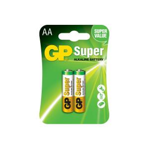 Батарейка AA LR06 GP SUPER ALKALINE (пальчик), (блистер 2 шт) 15A-2UE2