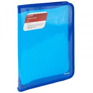 Папка на молнии объемная пластик (А4) AXENT 30 мм синяя (1801-22-A)
