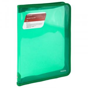 Папка на молнии объемная пластик (А4) AXENT 30 мм зеленая (1801-26-A)