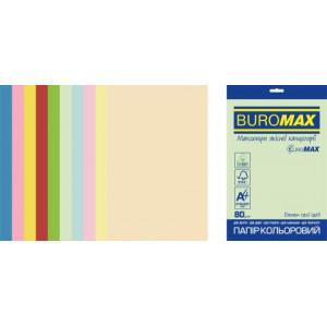 Бумага цветная А4 80 г/м кв BUROMAX Радуга 20 л PASTEL+INTENSIVE 10 цв