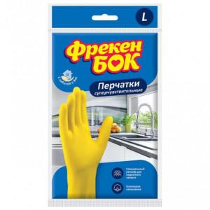 Перчатки латексные L-9 ФРЕКЕН БОК (универс) для мытья посуды ЖЕЛТЫЕ (БЕЗ НДС) (17104890)