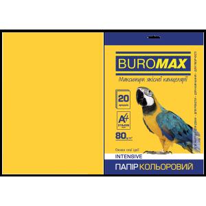 Бумага цветная А4 80 г/м кв BUROMAX 20 л INTENSIVE желтый (BM.2721320-08)