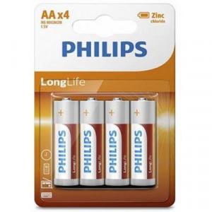 Батарейка AA LR06 PHILIPS LongLife Zinc Carbon * 4 (R6L4B/10) уп. 4 шт.