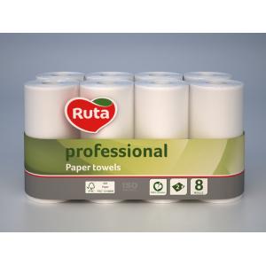 Полотенца рулонные 2-слой Ruta Professional белые (8 рул/уп)
