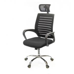 """Крісло офісне """"Фіджи"""" HR Чорне з підлакотниками та підголовником на роліках"""