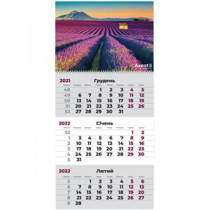 Календарь 2022 квартальный, настенный перекидной, на 1 пружину Axent Лаванда (8801-04-a)
